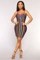 Witty Banter Bandage Dress - Red Multi
