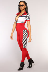 Checking You Out Jumpsuit - Red