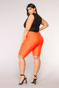 Curves For Days Biker Shorts - Orange Angle 11