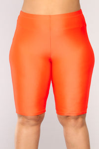 Curves For Days Biker Shorts - Orange Angle 8