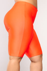 Curves For Days Biker Shorts - Orange Angle 10