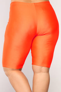 Curves For Days Biker Shorts - Orange Angle 12