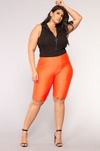 Curves For Days Biker Shorts - Orange Angle 7