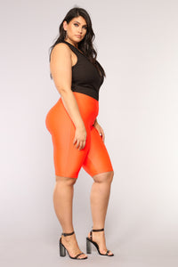 Curves For Days Biker Shorts - Orange Angle 9