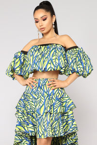 Krista Off Shoulder Top - Blue