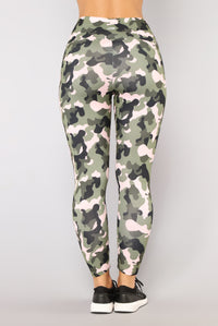 Push For It Performance Leggings - Olive/combo