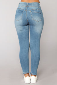 Hit Me Up Ankle Jeans - Dark Denim