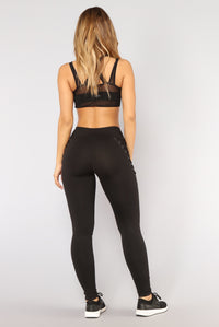 Get A Move On Lace Up Performance Leggings - Black Angle 5