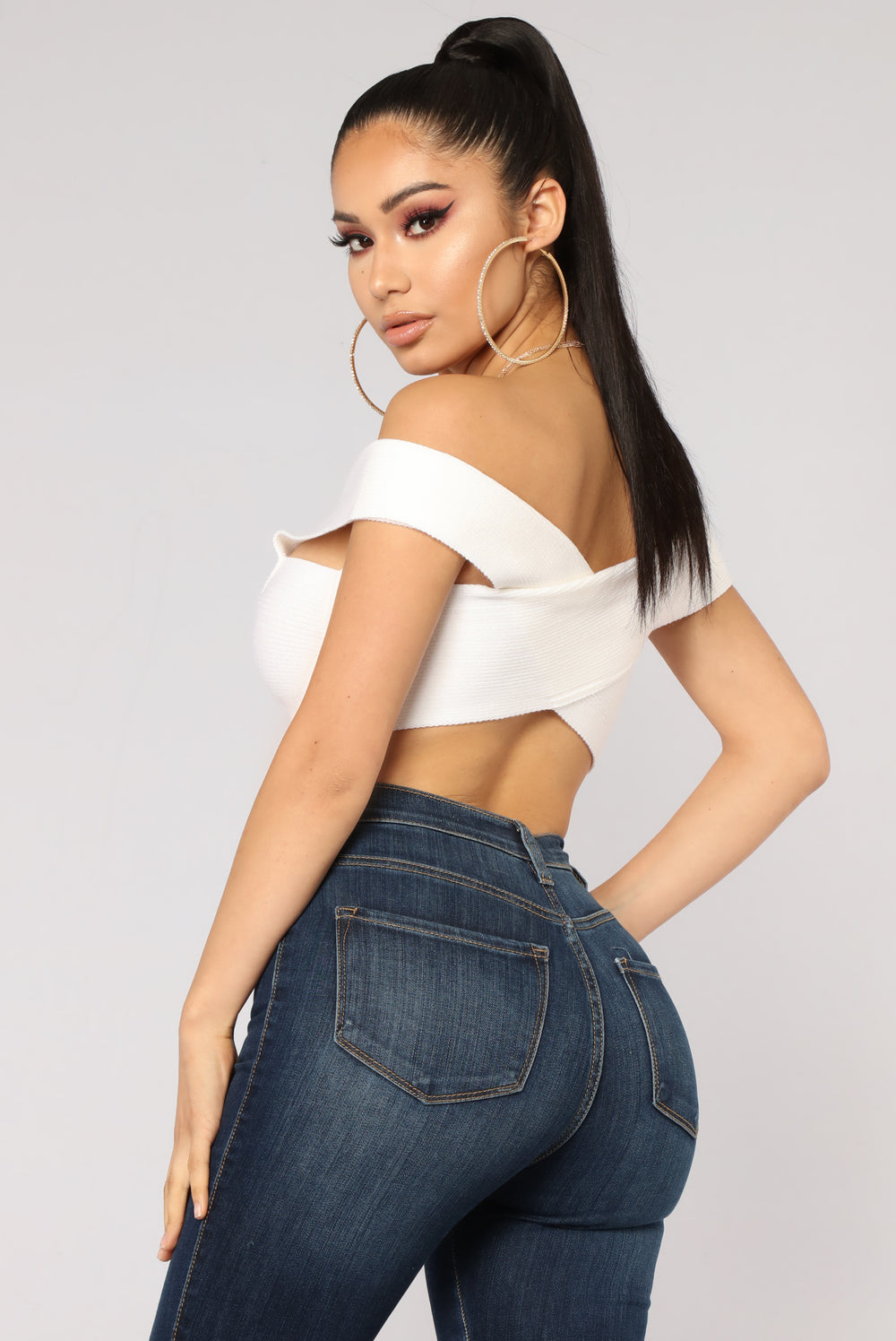 Amani Off Shoulder Crop Top - White