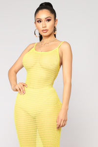 Vivid Dreams Mesh Dress - Yellow