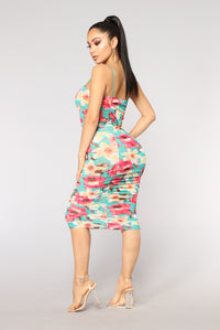 Vacation Gone Wild Mesh Dress - Jade