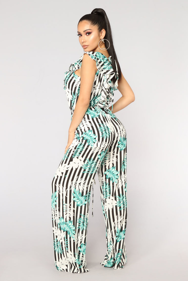 Long Island Tropical Jumpsuit - Black Combo