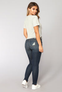 On The Edge Skinny Jeans - Dark Wash