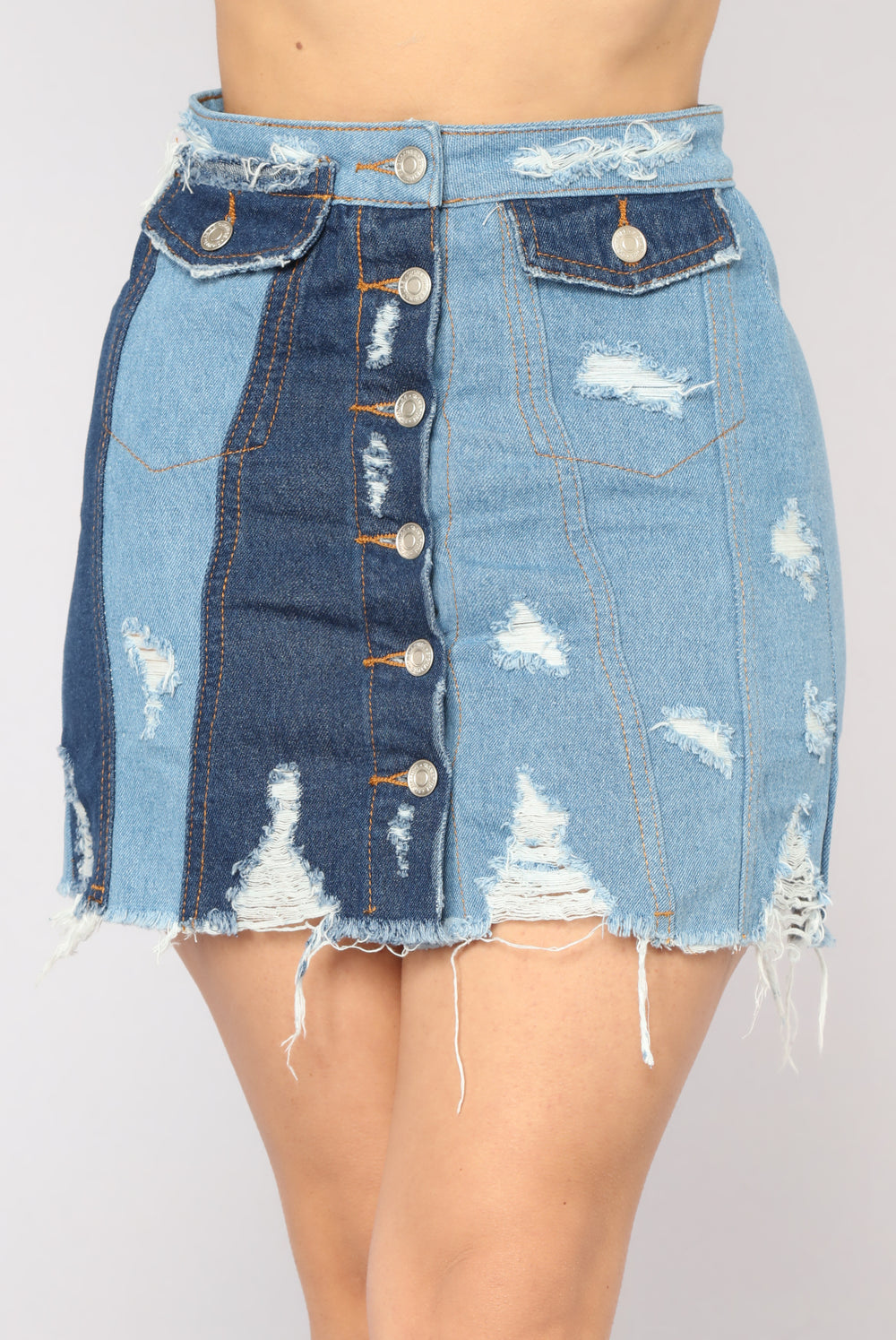 Blocking You Now Denim Skirt - Medium Blue Wash