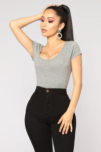 Sabela Basic Bodysuit - Heather Grey Angle 1
