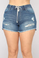 Hit The Coast Drawstring Shorts - Medium Blue Wash