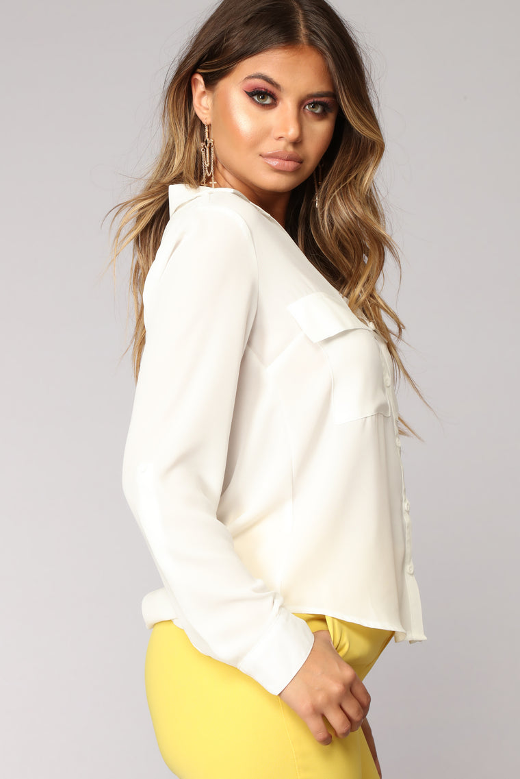 Pocket Full Of Sunshine Long Sleeve Top - White