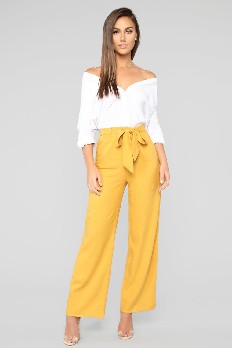 Forget To Forget Tie Waist Pants   Mustard by Fashion Nova