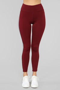 In The Game Active Legging - Burgundy Angle 4
