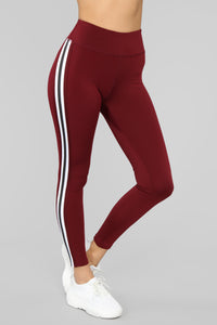 In The Game Active Legging - Burgundy Angle 1