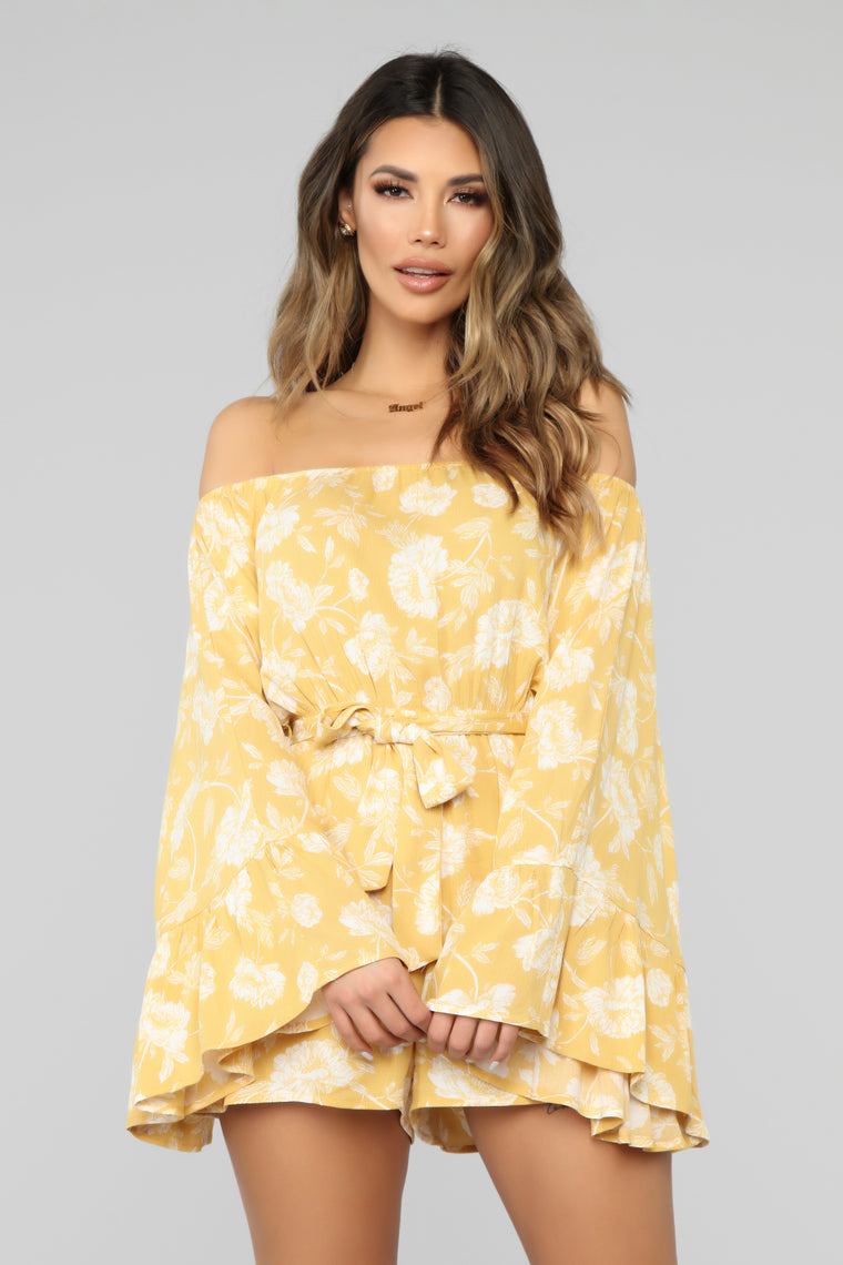 Acacia Floral Romper - Yellow