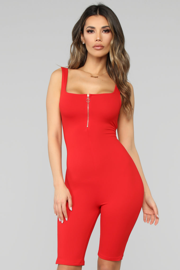 Locked In Love Biker Romper   Red by Fashion Nova