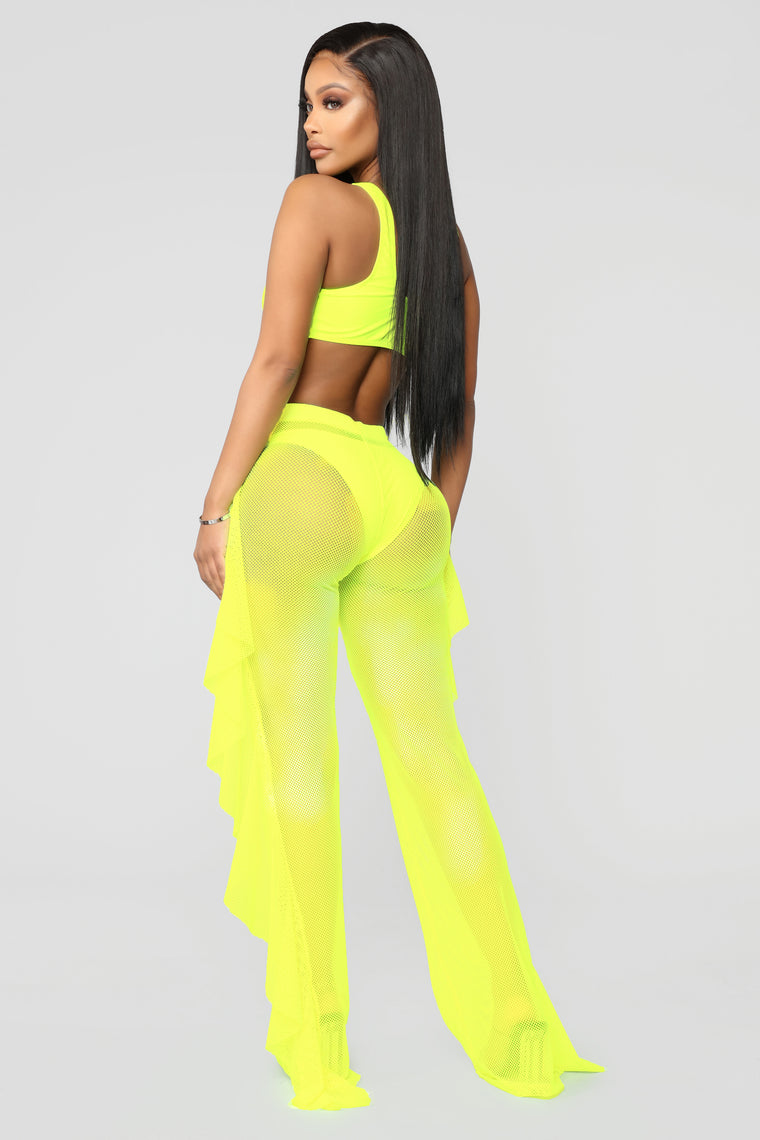 Shuffle And Ruffle Fishnet Cover Up Pants - Yellow