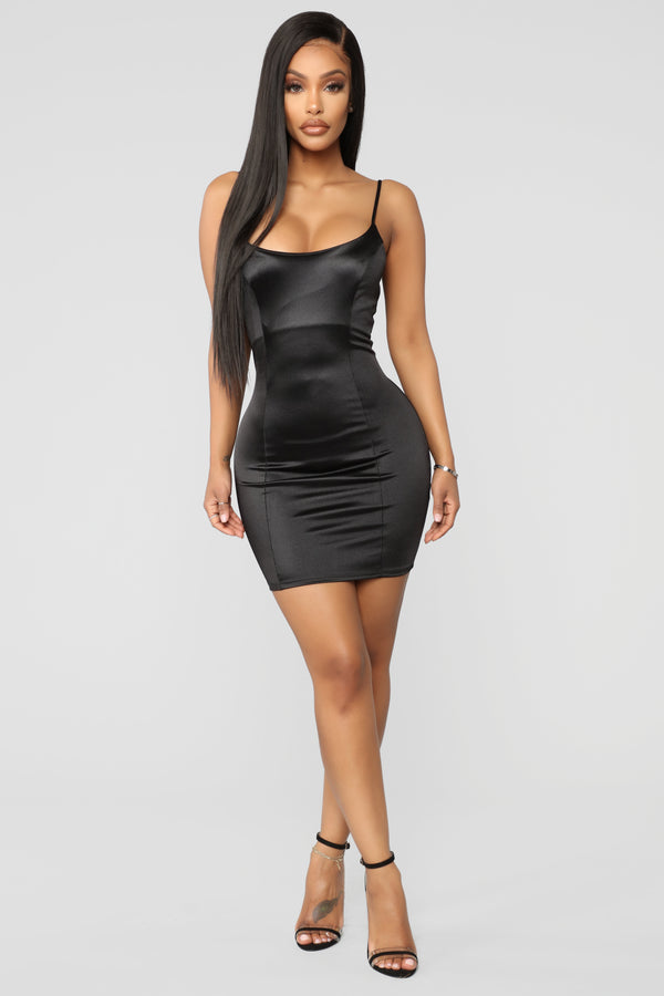 d34a25393f So Smooth Satin Mini Dress - Black