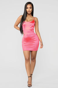 So Smooth Satin Mini Dress - Neon Pink