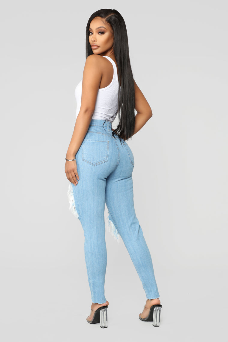 Only A Little Trouble Skinny Jeans - Light Blue Wash