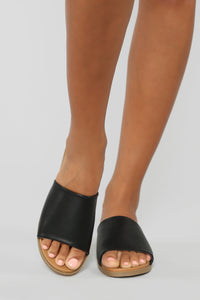 Not Letting Go Flat Sandals - Black