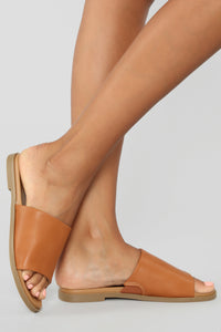 Not Letting Go Flat Sandals - Cognac