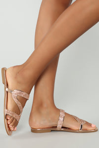 Let Me Be Flat Sandals - Rose Gold