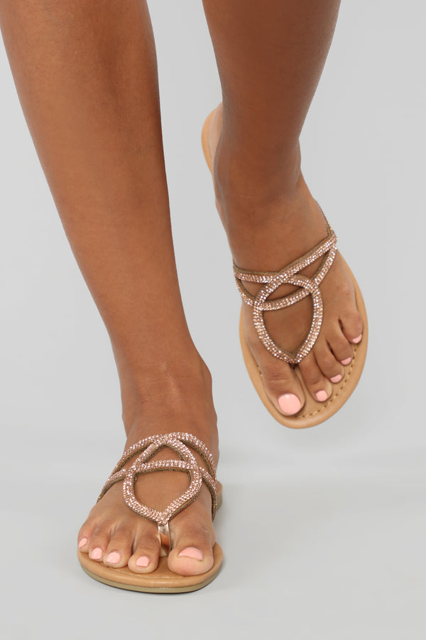 e9bcf9781a0ea8 Right This Way Flat Sandals - Rose Gold