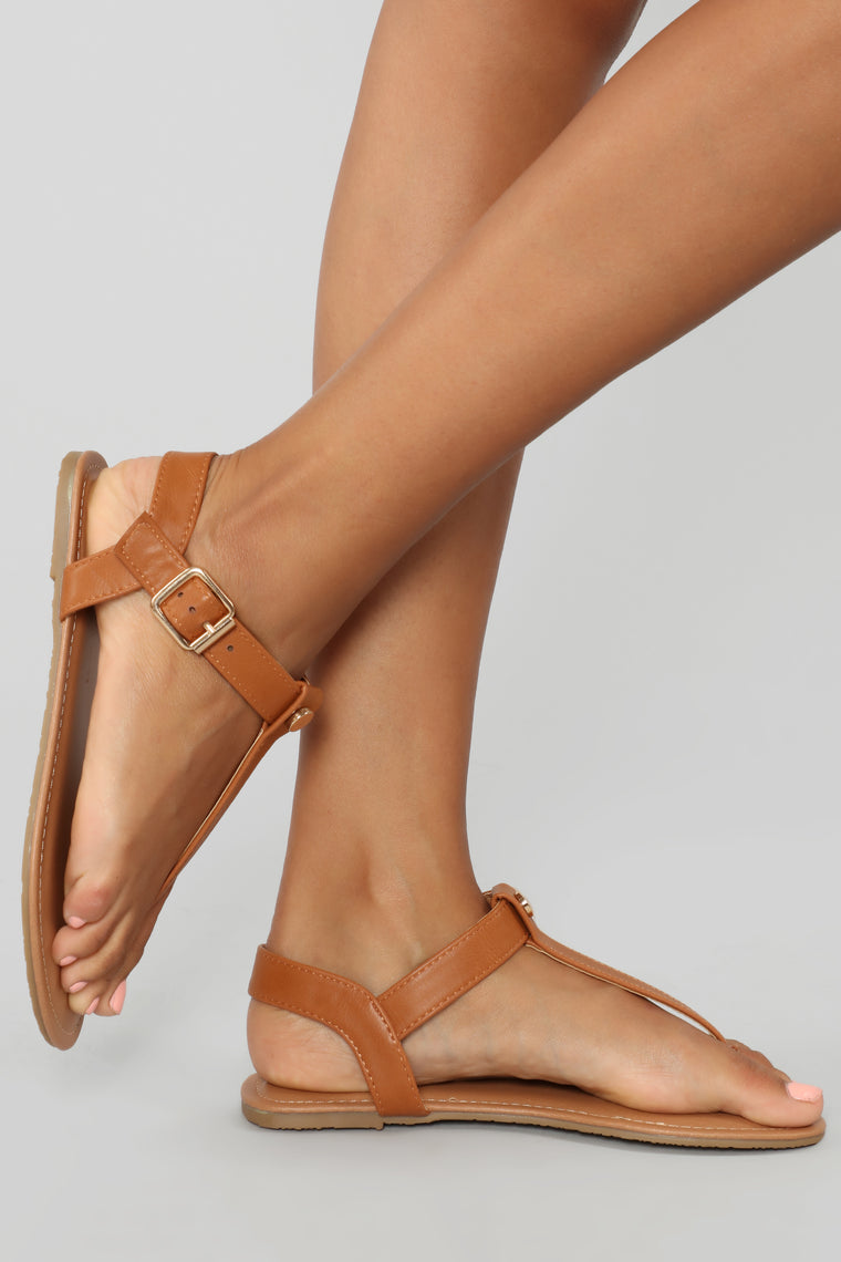 Always A Good Idea Flat Sandals - Cognac