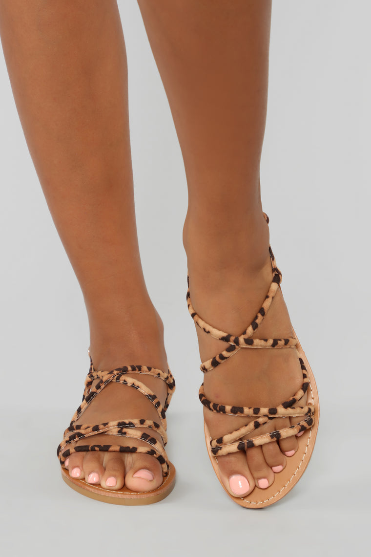 Follow Me Flat Sandals - Leopard