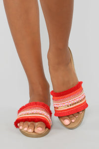 In The Moment Flat Sandals - Red Angle 1