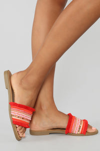 In The Moment Flat Sandals - Red Angle 2