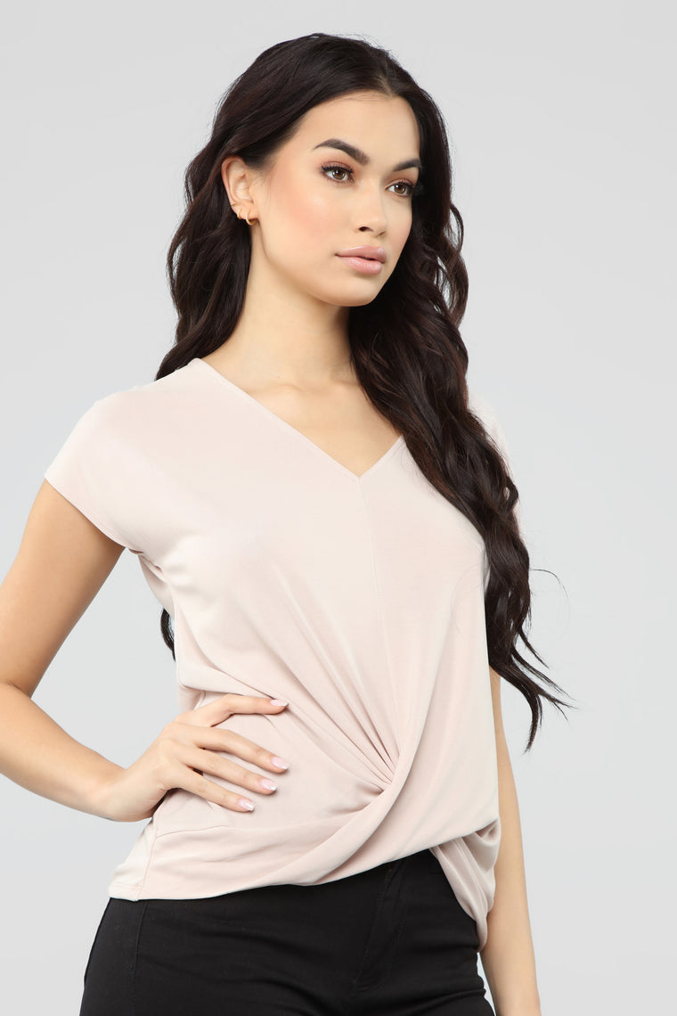 Twisted V Neck Top - Tan