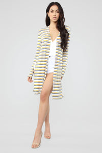 Stripe Away Duster Cardigan - Mustard/combo Angle 1