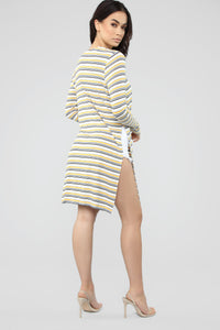 Stripe Away Duster Cardigan - Mustard/combo Angle 5