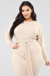 Down For The Lounge Jumpsuit - Taupe