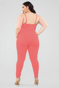 Sealed With A Kiss Jumpsuit - Coral