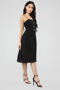 Simple Sweet Button Front Dress - Black
