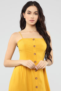 Simple Sweet Button Front Dress - Mustard