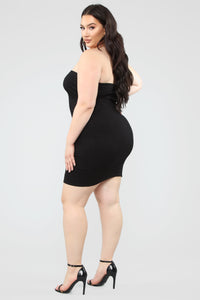 No Explanation Ribbed Mini Dress - Black
