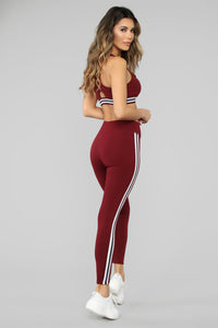 In The Game Active Legging - Burgundy Angle 5