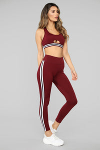 In The Game Active Legging - Burgundy Angle 2