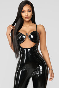 My Own Scandal Latex Jumpsuit - Black