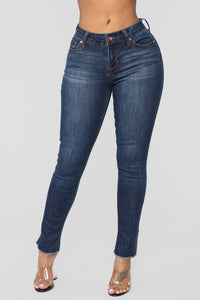 Save The Drama Distressed Jeans - Medium Blue Wash